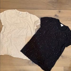 Gap 2 basic tees in black and cream w/ glitter